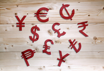 International red economy currency units on wooden background