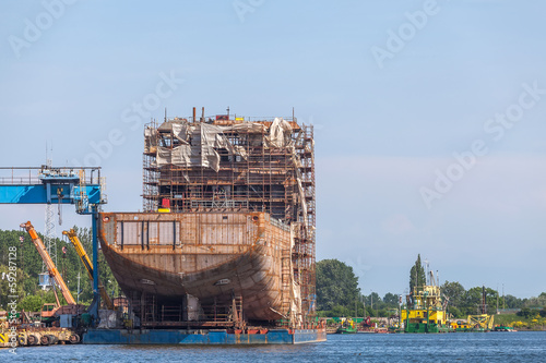 Building a ship in the Port of Gdansk