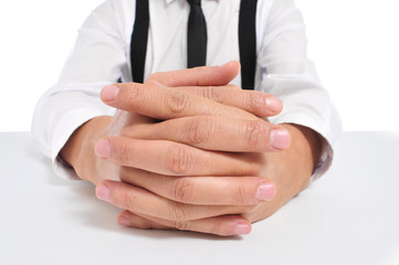 businessman with clasped hands