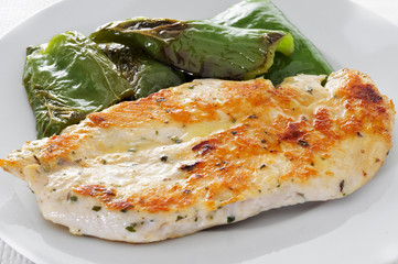 grilled chicken fillet and green peppers