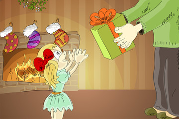 girl reaching for a gift