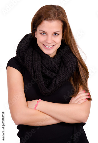 Isolated confident woman portrait.