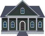 North American House with Large Front Porch Vector Illustration
