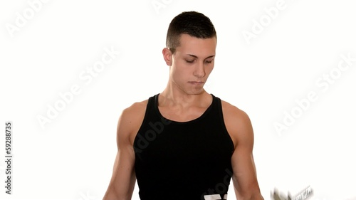 handsome boy doing dumbbell biceps curl