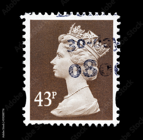 Postage Stamp with Portrait of Queen Elizabeth