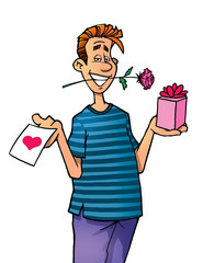 Young man holding a gift box, love letter and a rose