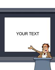 Man presentation  on white board