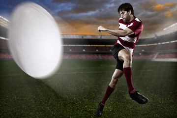 Rugby player Kicking