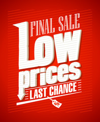 Final sale, low prices typographic design