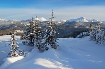 Mountain landscape winter day