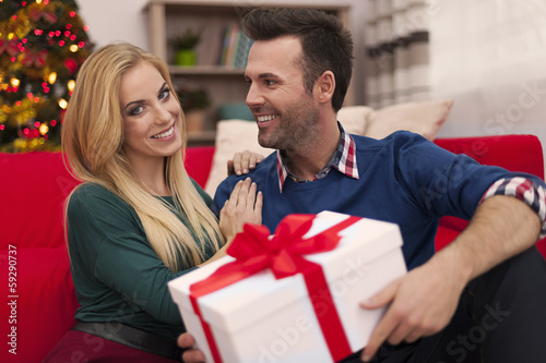 Smiling couple in christmas time