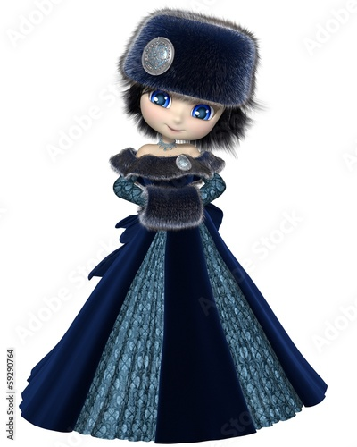 Toon Winter Princess in Blue