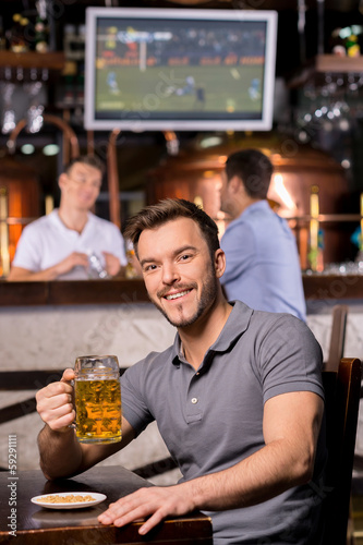 Man in beer pub.