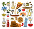 vector italy icons set