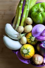 Légumes divers dans une cuisine