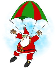 Crazy Santa skydiver