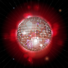 glowing disco ball with lens flares