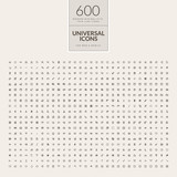 Fototapety Set of 600 universal icons for web and mobile