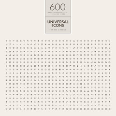 Set of 600 universal icons for web and mobile