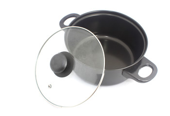 Stewpot with non sticky coating isolated on white
