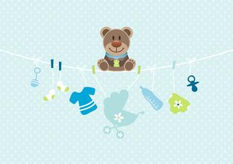 Teddy Hanging Baby Symbols Boy Dots Blue
