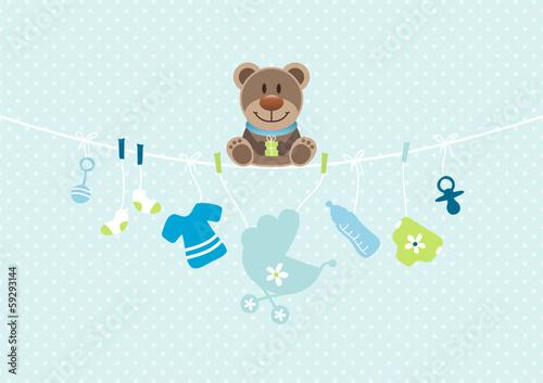 Teddy Hanging Baby Symbols Boy Dots Blue - 59293144