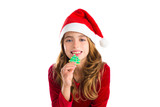 Christmas kid girl Xmas tree cookie isolated on white