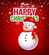 Snowman have Hat red Santa Claus on red background