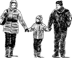 family at walk
