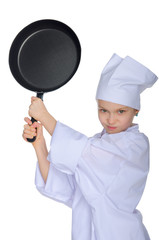 Young chef threatens frying pan