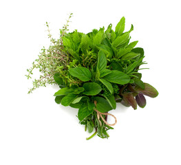 herbs over white