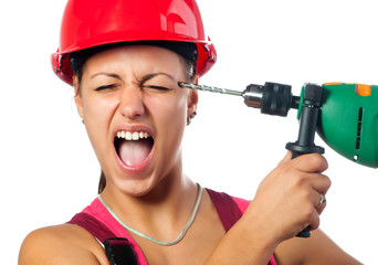 Incompetent female worker with drill