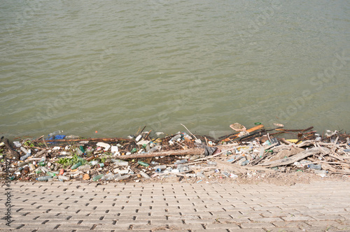 trash at river bank