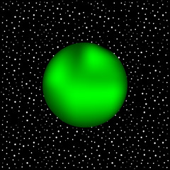 Green planet on a background of stars