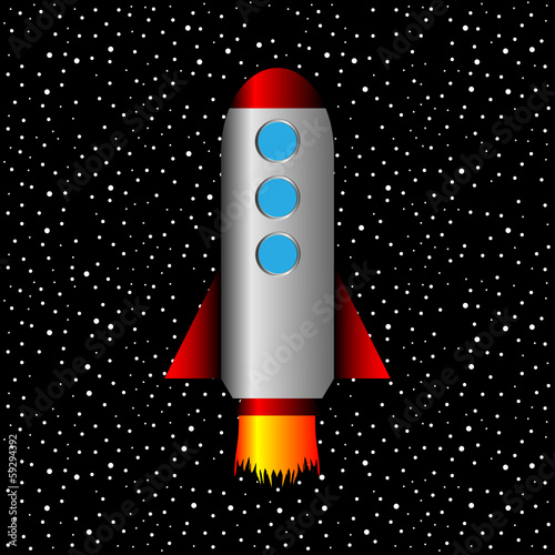 Space rocket on a background of stars