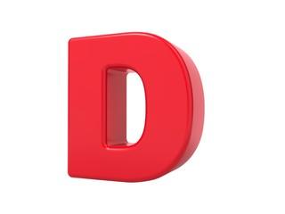 Red 3D Letter D.