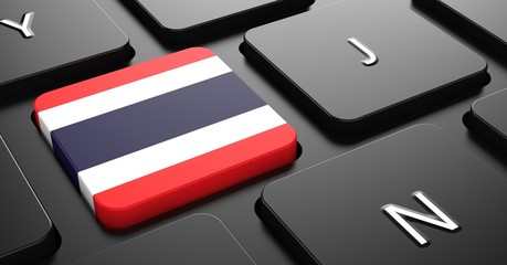 Thailand - Flag on Button of Black Keyboard.