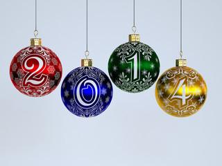 2014. Happy New Year. Christmas-tree decorations