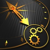 Cogwheel Gear Icon on Golden Compass.