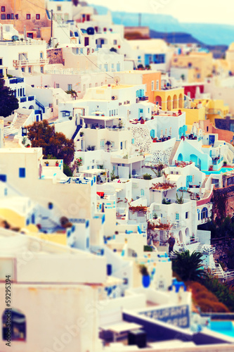 view of Oia, Santorini, Greece