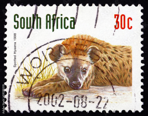 Fotobehang Hyena Postage stamp South Africa 1998 Spotted Hyena, animal
