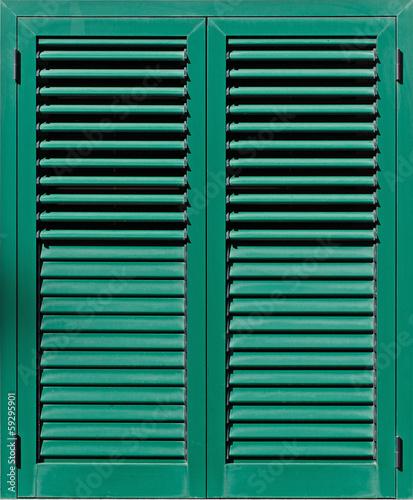 Window with green shutters, Closeup view - 59295901