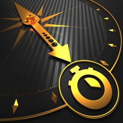 Golden Stopwatch Icon on Black Compass.