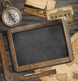 adventure nautical background with vintage treasure map, blackbo
