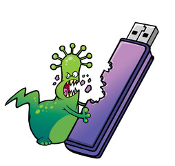 Cartoon virus deletes the information from the USB Flash Drive