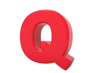 Red 3D Letter Q.