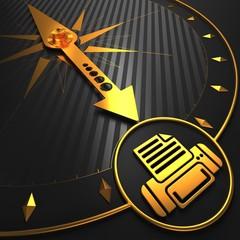 Golden Printer Icon on Black Compass.