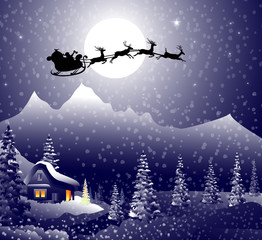 Sledge with Santa Clause at  Winter Night -vector