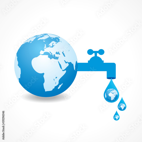 save water concept with earth stock vector