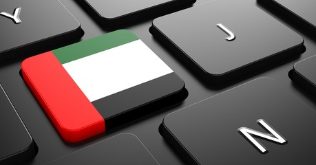 UAE - Flag on Button of Black Keyboard.